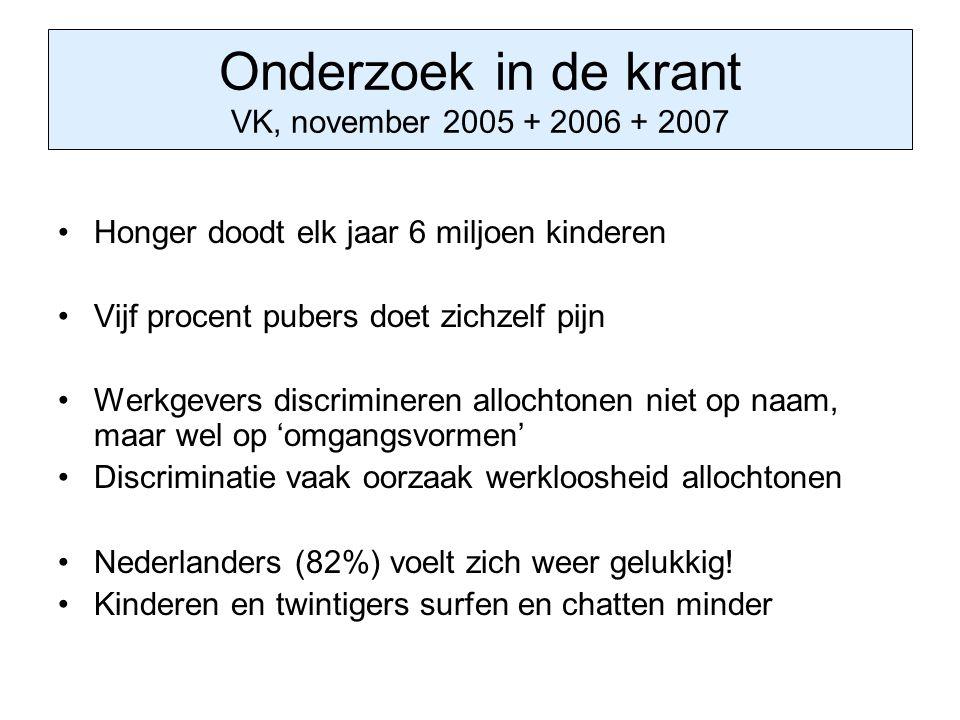 Onderzoek in de krant VK, november 2005 + 2006 + 2007 Honger doodt elk jaar 6 miljoen kinderen Vijf procent pubers doet zichzelf pijn Werkgevers discr