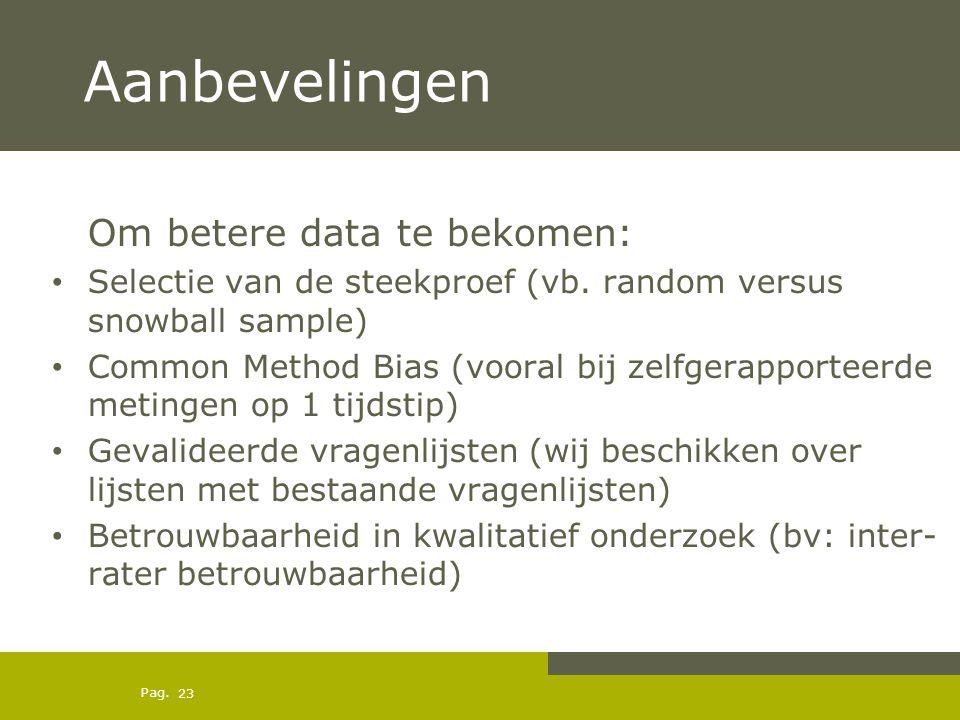 Pag. Aanbevelingen Om betere data te bekomen: Selectie van de steekproef (vb. random versus snowball sample) Common Method Bias (vooral bij zelfgerapp