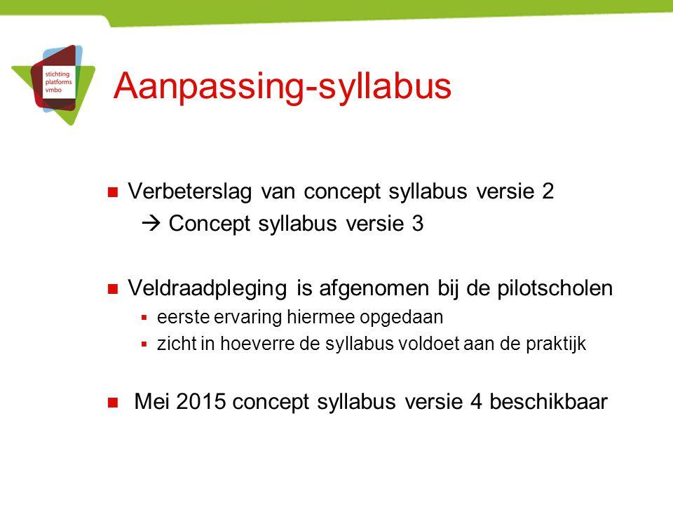 Aanpassing-syllabus Verbeterslag van concept syllabus versie 2  Concept syllabus versie 3 Veldraadpleging is afgenomen bij de pilotscholen  eerste e