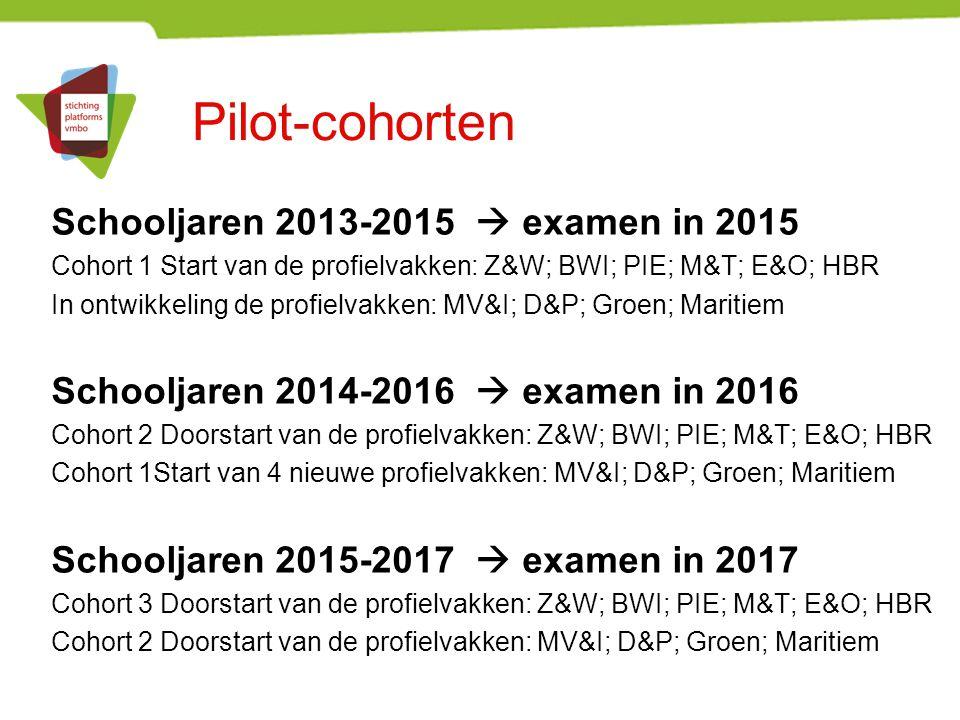 Pilot-cohorten Schooljaren 2013-2015  examen in 2015 Cohort 1 Start van de profielvakken: Z&W; BWI; PIE; M&T; E&O; HBR In ontwikkeling de profielvakk