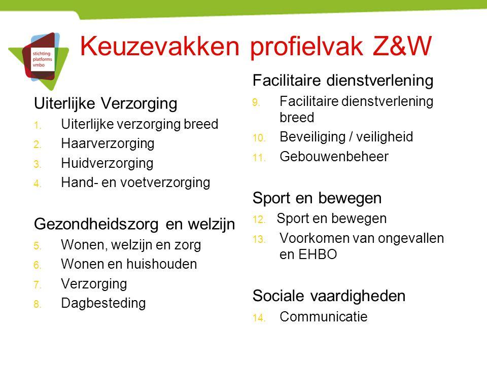 Keuzevakken profielvak Z&W Uiterlijke Verzorging 1. Uiterlijke verzorging breed 2. Haarverzorging 3. Huidverzorging 4. Hand- en voetverzorging Gezondh