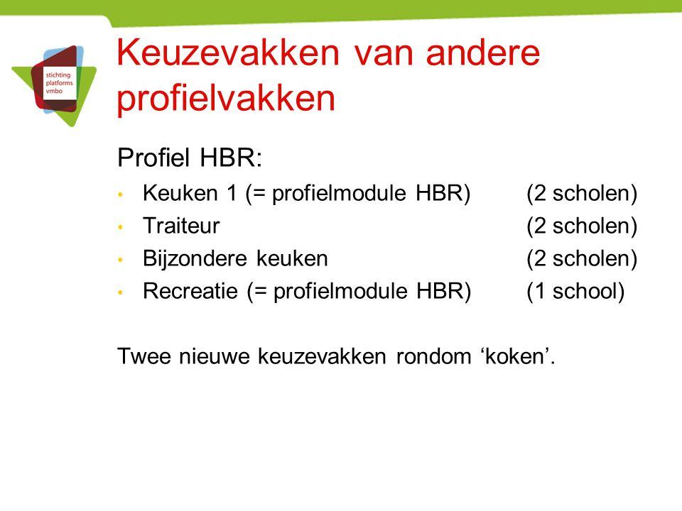 Keuzevakken van andere profielvakken Profiel HBR: Keuken 1 (= profielmodule HBR) (2 scholen) Traiteur (2 scholen) Bijzondere keuken(2 scholen) Recreat