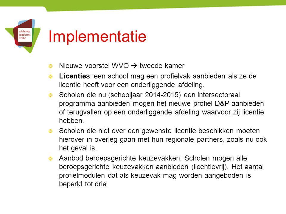 Implementatie  Nieuwe voorstel WVO  tweede kamer  Licenties: een school mag een profielvak aanbieden als ze de licentie heeft voor een onderliggend