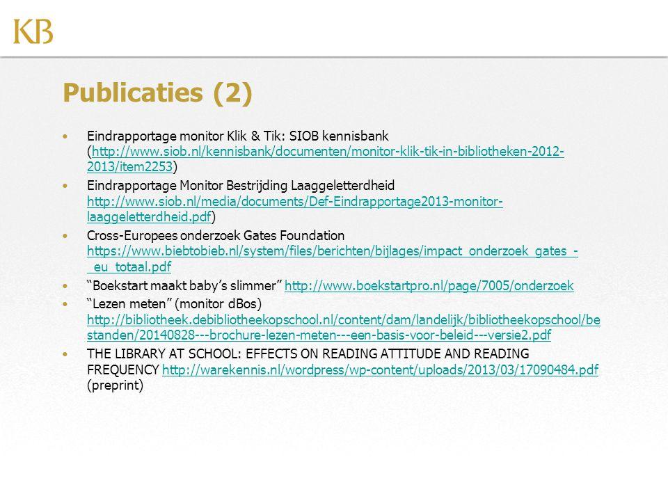 Publicaties (2) Eindrapportage monitor Klik & Tik: SIOB kennisbank (http://www.siob.nl/kennisbank/documenten/monitor-klik-tik-in-bibliotheken-2012- 20