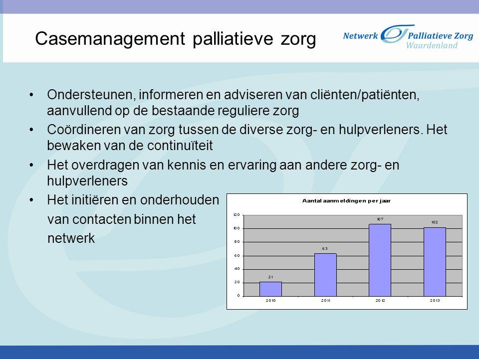 Casemanagement palliatieve zorg Ondersteunen, informeren en adviseren van cliënten/patiënten, aanvullend op de bestaande reguliere zorg Coördineren va