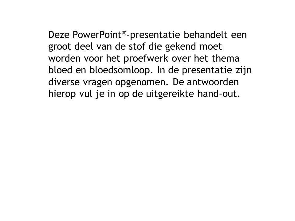 Deze PowerPoint ® -presentatie behandelt een groot deel van de stof die gekend moet worden voor het proefwerk over het thema bloed en bloedsomloop. In
