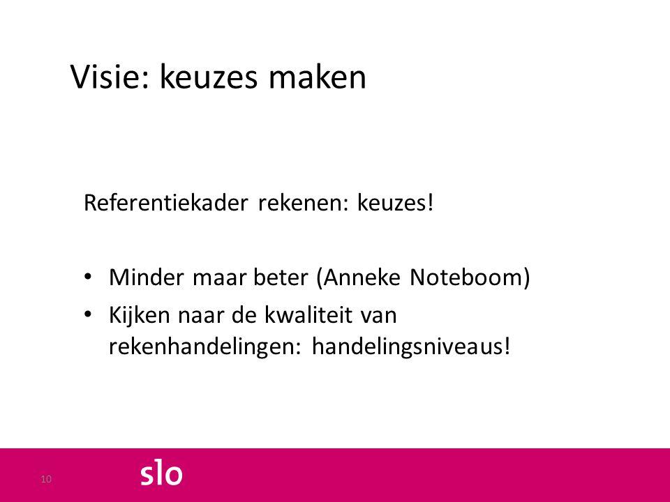Visie: keuzes maken Referentiekader rekenen: keuzes! Minder maar beter (Anneke Noteboom) Kijken naar de kwaliteit van rekenhandelingen: handelingsnive