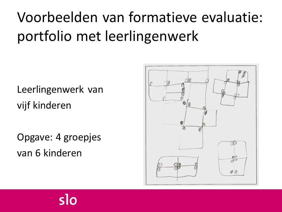Voorbeelden van formatieve evaluatie: portfolio met leerlingenwerk Leerlingenwerk van vijf kinderen Opgave: 4 groepjes van 6 kinderen