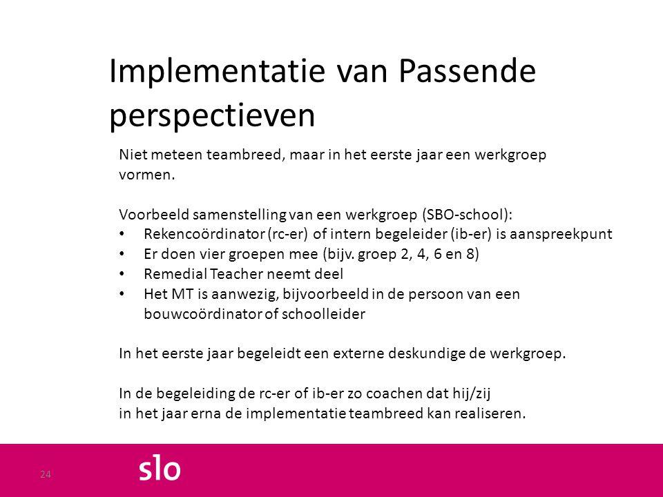 Implementatie van Passende perspectieven Niet meteen teambreed, maar in het eerste jaar een werkgroep vormen. Voorbeeld samenstelling van een werkgroe