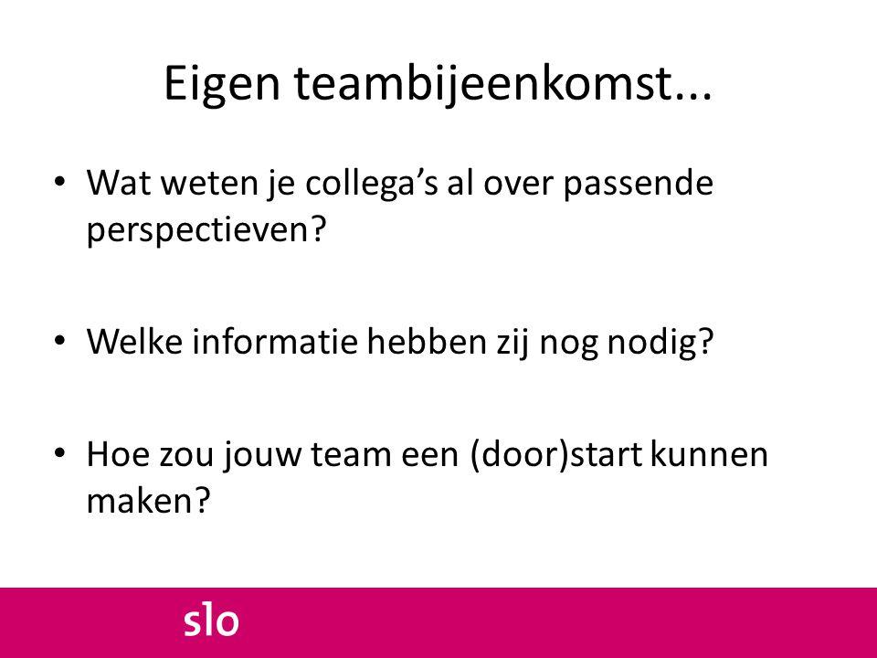 Eigen teambijeenkomst... Wat weten je collega's al over passende perspectieven? Welke informatie hebben zij nog nodig? Hoe zou jouw team een (door)sta