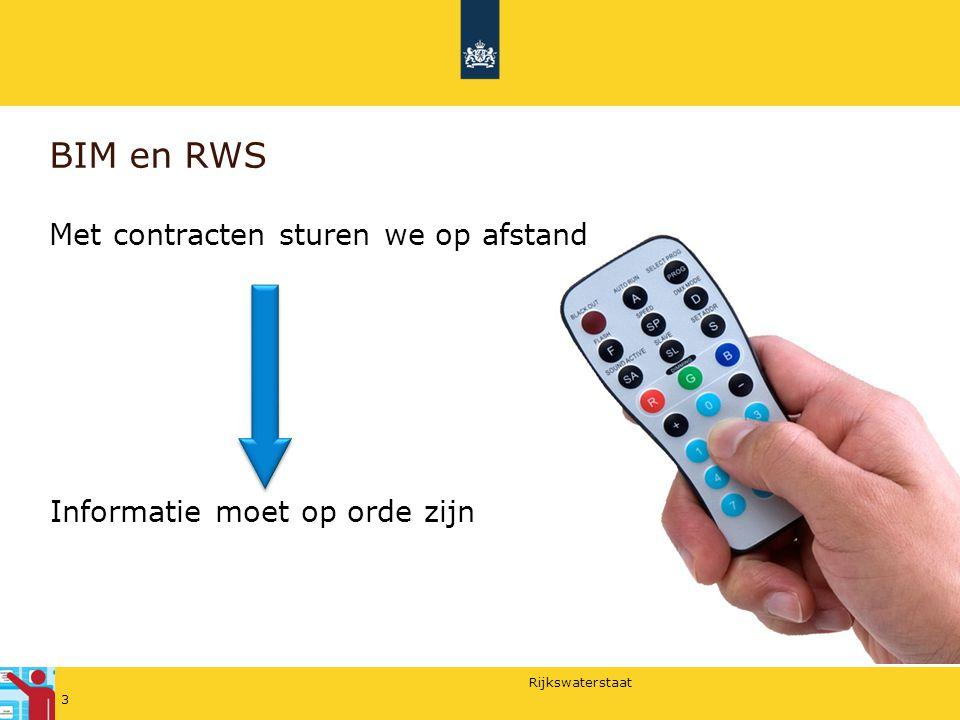 Rijkswaterstaat BIM en RWS Met contracten sturen we op afstand Informatie moet op orde zijn 3