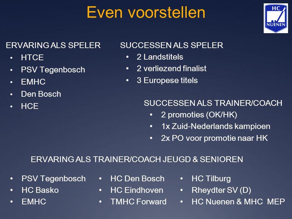 Even voorstellen ERVARING ALS SPELER HTCE PSV Tegenbosch EMHC Den Bosch HCE SUCCESSEN ALS SPELER 2 Landstitels 2 verliezend finalist 3 Europese titels