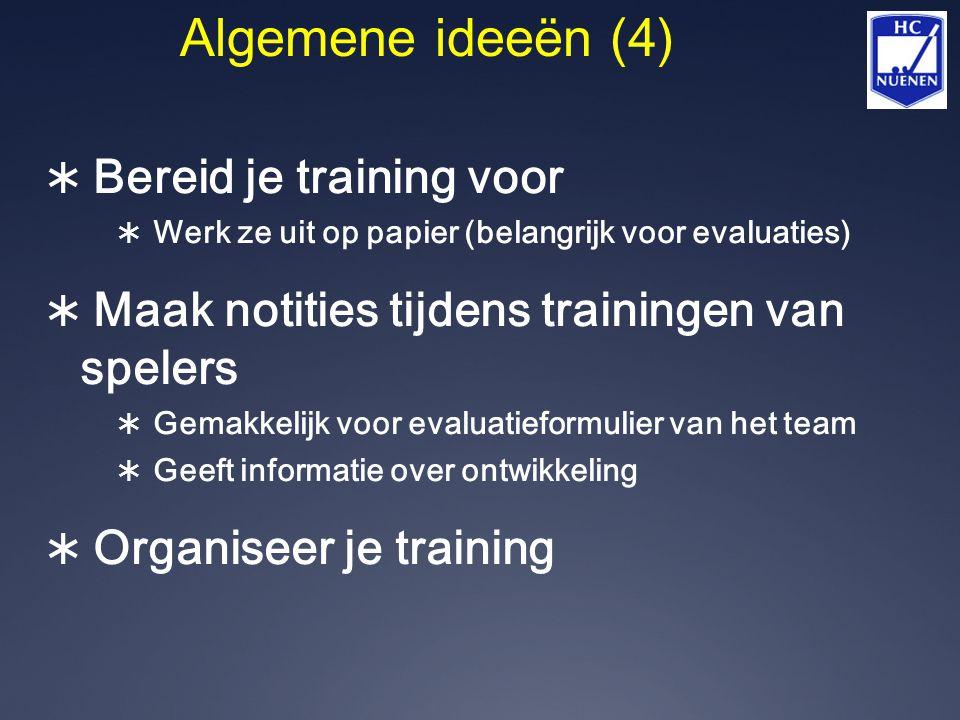  Bereid je training voor  Werk ze uit op papier (belangrijk voor evaluaties)  Maak notities tijdens trainingen van spelers  Gemakkelijk voor evalu