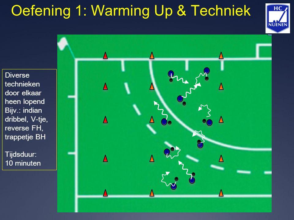 Oefening 1: Warming Up & Techniek Diverse technieken door elkaar heen lopend Bijv.: indian dribbel, V-tje, reverse FH, trappetje BH Tijdsduur: 10 minu