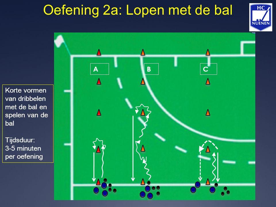 Oefening 2a: Lopen met de bal ABC Korte vormen van dribbelen met de bal en spelen van de bal Tijdsduur: 3-5 minuten per oefening