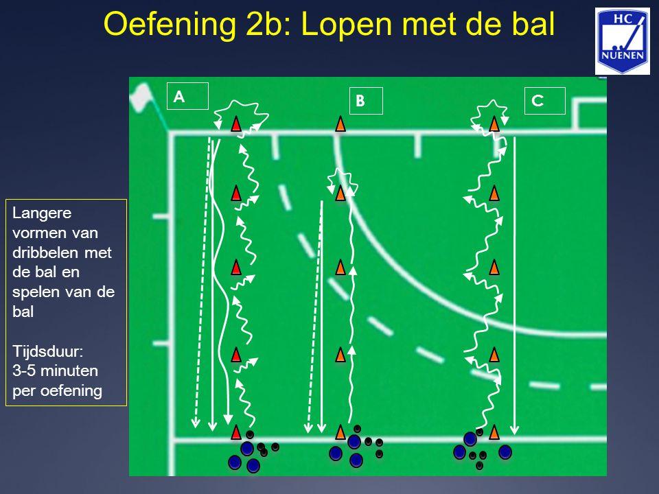 Oefening 2b: Lopen met de bal A BC Langere vormen van dribbelen met de bal en spelen van de bal Tijdsduur: 3-5 minuten per oefening