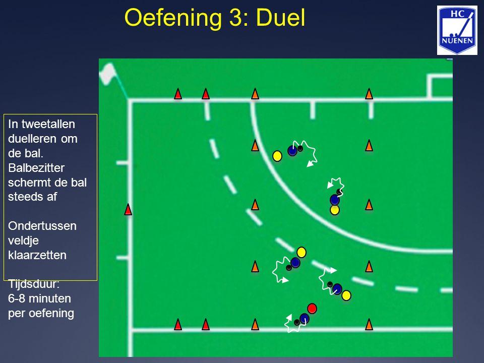 Oefening 3: Duel In tweetallen duelleren om de bal. Balbezitter schermt de bal steeds af Ondertussen veldje klaarzetten Tijdsduur: 6-8 minuten per oef