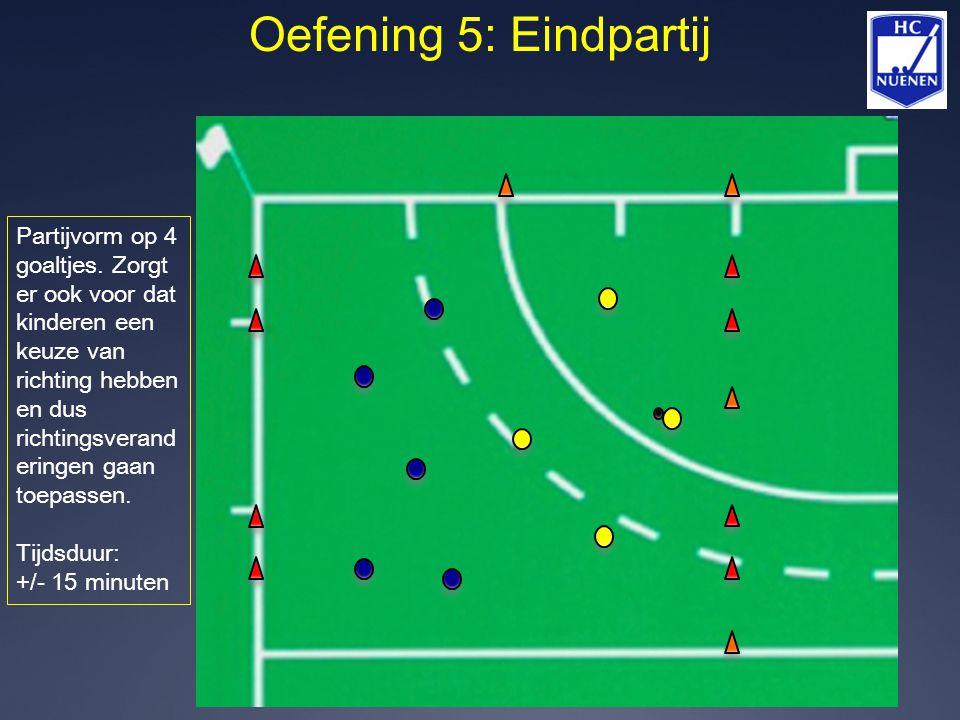 Oefening 5: Eindpartij Partijvorm op 4 goaltjes. Zorgt er ook voor dat kinderen een keuze van richting hebben en dus richtingsverand eringen gaan toep