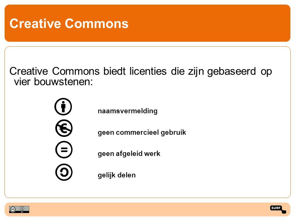 Creative Commons Creative Commons biedt licenties die zijn gebaseerd op vier bouwstenen: naamsvermelding geen commercieel gebruik geen afgeleid werk gelijk delen