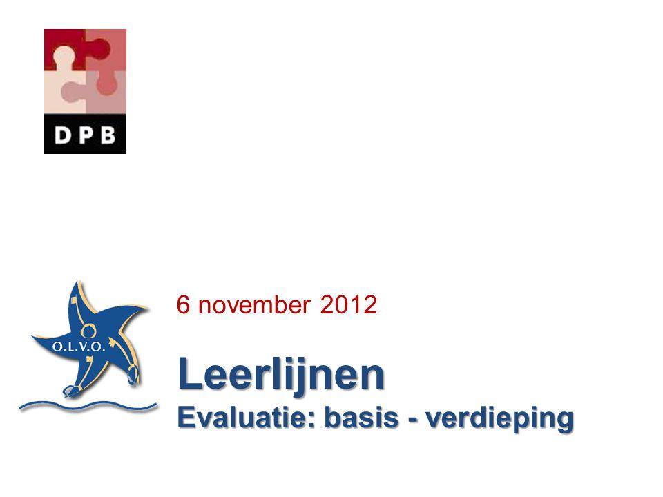 6 november 2012Leerlijnen Evaluatie: basis - verdieping