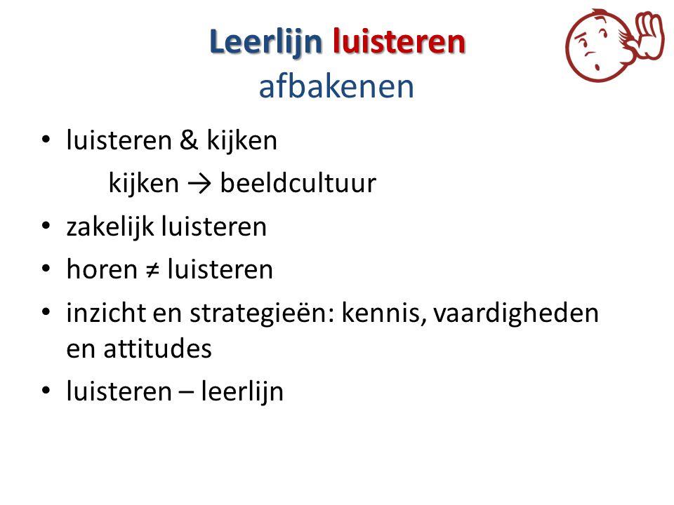 Leerlijn luisteren Leerlijn luisteren afbakenen luisteren & kijken kijken → beeldcultuur zakelijk luisteren horen ≠ luisteren inzicht en strategieën: