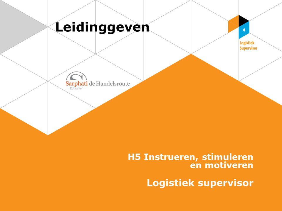Leidinggeven H5 Instrueren, stimuleren en motiveren Logistiek supervisor