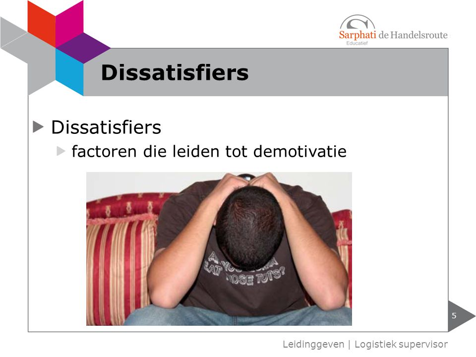 Dissatisfiers factoren die leiden tot demotivatie 5 Leidinggeven | Logistiek supervisor Dissatisfiers
