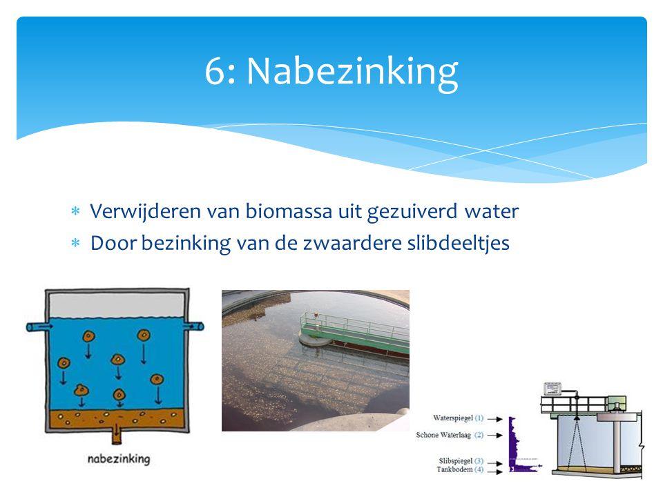  Verwijderen van biomassa uit gezuiverd water  Door bezinking van de zwaardere slibdeeltjes 6: Nabezinking