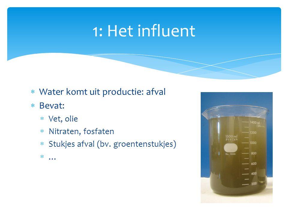  Water komt uit productie: afval  Bevat:  Vet, olie  Nitraten, fosfaten  Stukjes afval (bv. groentenstukjes)  … 1: Het influent