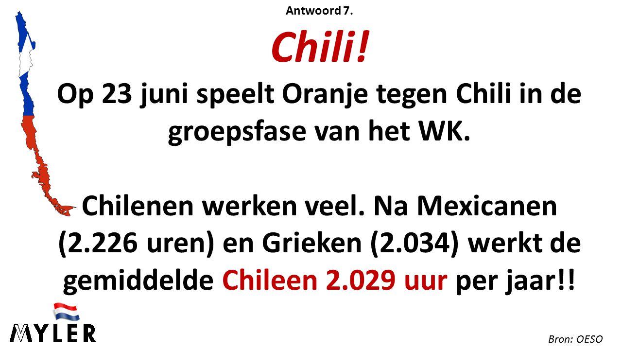Antwoord 7. Chili. Op 23 juni speelt Oranje tegen Chili in de groepsfase van het WK.