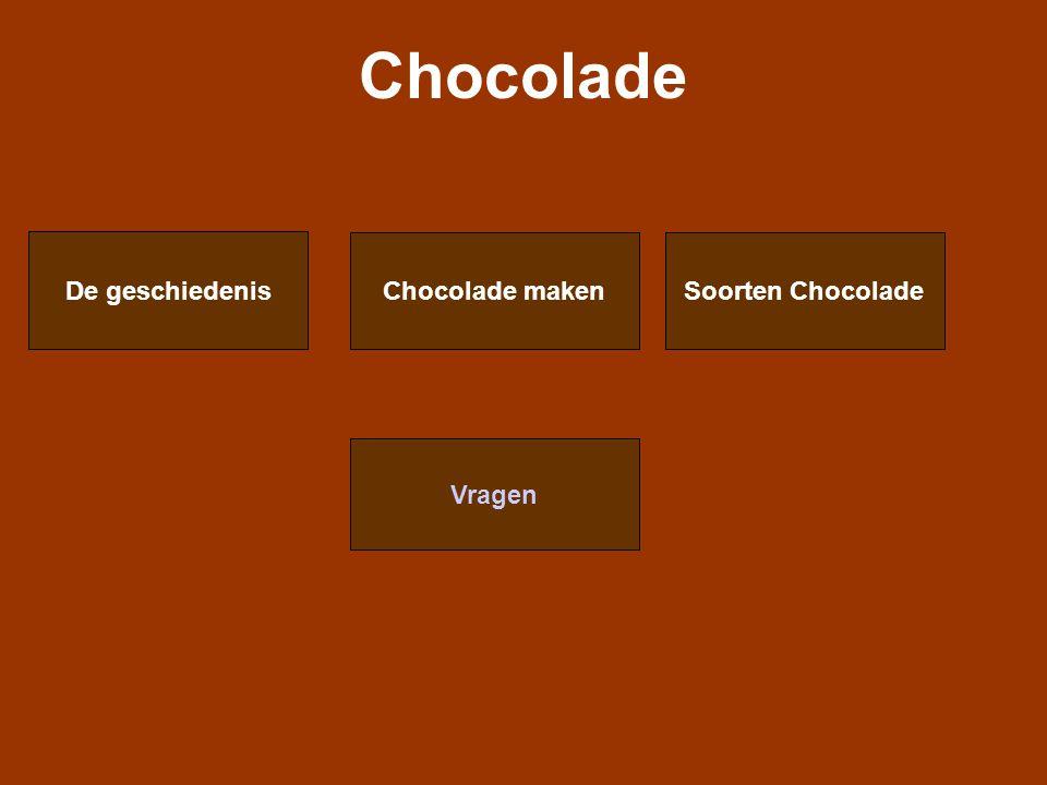 De geschiedenis -In de 16 de eeuw dronk je Chocolade -In 1585 werd chocolade van Mexico naar Spanje gebracht -Spanjaarden deden suiker bij de chocolade en bakte er koekjes van -100 jaar geheim -Cacaobonen waren heel duur in de 17 de eeuw -alleen voor rijke mensen (adel) -Konijn koste 10 cacaobonen -18 de eeuw werden cacaobonen goedkoper -Engeland 1728 -Duitsland en Frankrijk 1760 -Nederland 1813 -Zwitserland 1819