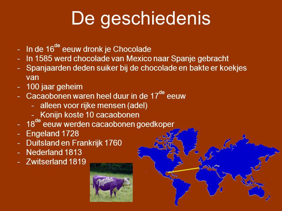 Chocolade maken Cacaobonen Schoonmaken en drogen Vervoeren in zakken Malen en Walsen Temperen Vormen