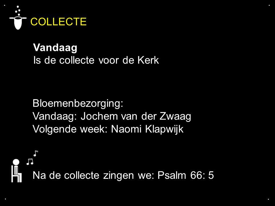 .... COLLECTE Vandaag Is de collecte voor de Kerk Na de collecte zingen we: Psalm 66: 5 Bloemenbezorging: Vandaag: Jochem van der Zwaag Volgende week: