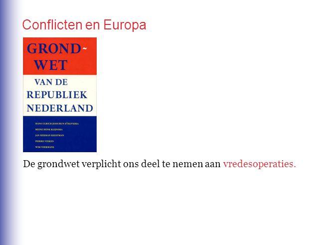 De grondwet verplicht ons deel te nemen aan vredesoperaties. Conflicten en Europa