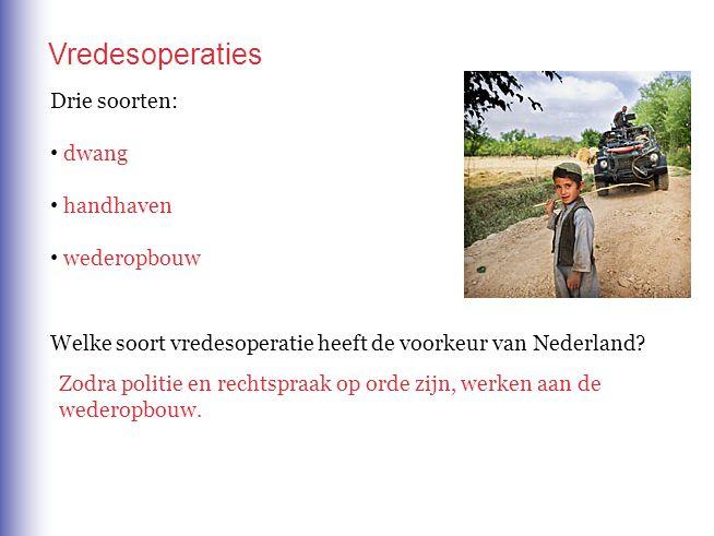Drie soorten: dwang handhaven wederopbouw Vredesoperaties Welke soort vredesoperatie heeft de voorkeur van Nederland? Zodra politie en rechtspraak op
