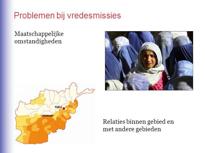 Maatschappelijke omstandigheden Relaties binnen gebied en met andere gebieden Problemen bij vredesmissies