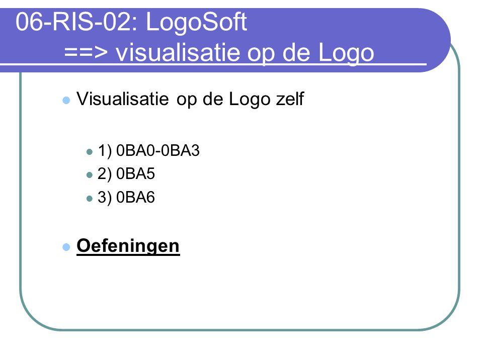 06-RIS-02: LogoSoft ==> visualisatie op de Logo Visualisatie op de Logo zelf 1) 0BA0-0BA3 2) 0BA5 3) 0BA6 Oefeningen