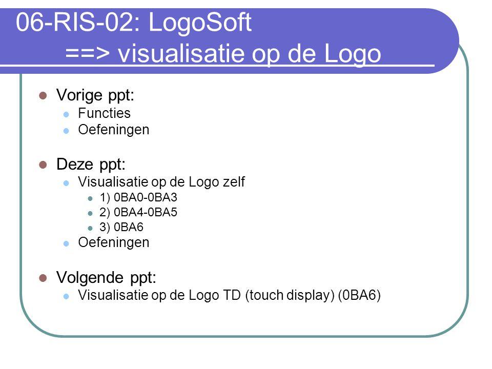 06-RIS-02: LogoSoft ==> visualisatie op de Logo Vorige ppt: Functies Oefeningen Deze ppt: Visualisatie op de Logo zelf 1) 0BA0-0BA3 2) 0BA4-0BA5 3) 0BA6 Oefeningen Volgende ppt: Visualisatie op de Logo TD (touch display) (0BA6)