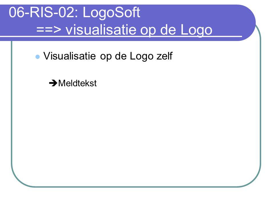 06-RIS-02: LogoSoft ==> visualisatie op de Logo Visualisatie op de Logo zelf  Meldtekst
