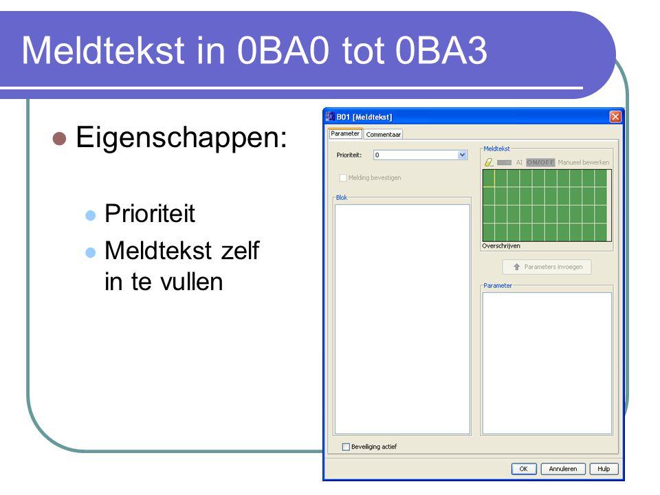 Meldtekst in 0BA0 tot 0BA3 Eigenschappen: Prioriteit Meldtekst zelf in te vullen