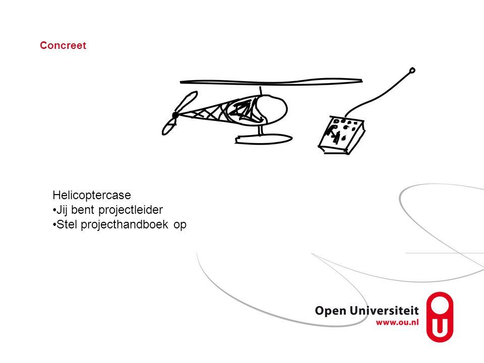 Concreet Helicoptercase Jij bent projectleider Stel projecthandboek op