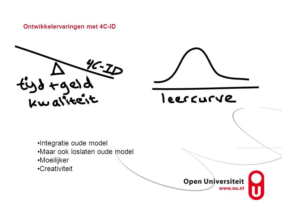 Ontwikkelervaringen met 4C-ID Integratie oude model Maar ook loslaten oude model Moeilijker Creativiteit