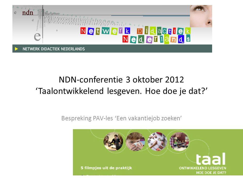 NDN-conferentie 3 oktober 2012 'Taalontwikkelend lesgeven.