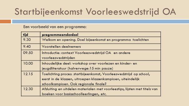 Startbijeenkomst Voorleeswedstrijd OA tijdprogrammaonderdeel 9.30Welkom en opening. Doel bijeenkomst en programma toelichten 9.40Voorstellen deelnemer