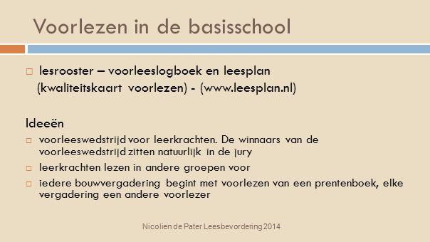 Voorlezen in de basisschool Nicolien de Pater Leesbevordering 2014  lesrooster – voorleeslogboek en leesplan (kwaliteitskaart voorlezen) - (www.leesp