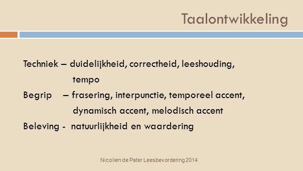 Taalontwikkeling Techniek – duidelijkheid, correctheid, leeshouding, tempo Begrip – frasering, interpunctie, temporeel accent, dynamisch accent, melod