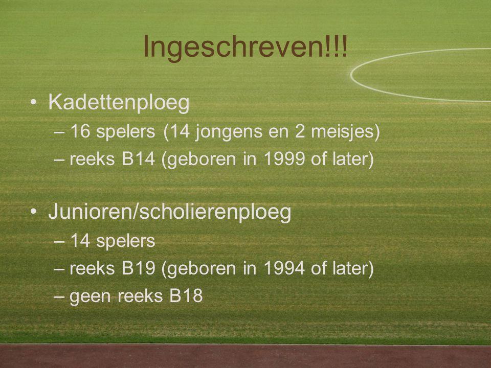 Kadettenploeg –16 spelers (14 jongens en 2 meisjes) –reeks B14 (geboren in 1999 of later) Junioren/scholierenploeg –14 spelers –reeks B19 (geboren in 1994 of later) –geen reeks B18 Ingeschreven!!!
