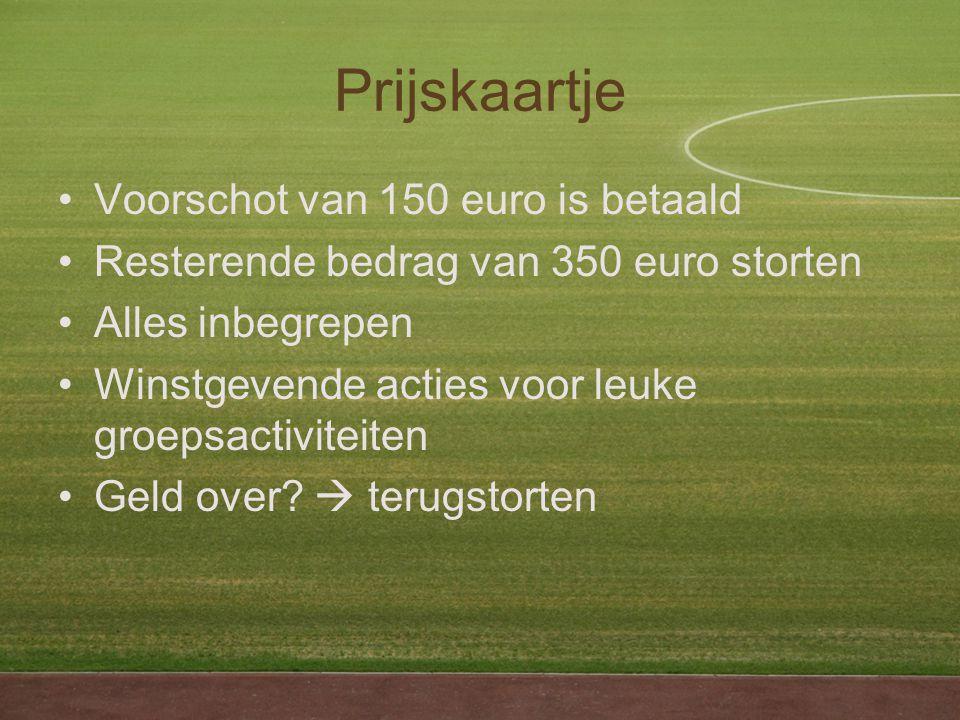 Prijskaartje Voorschot van 150 euro is betaald Resterende bedrag van 350 euro storten Alles inbegrepen Winstgevende acties voor leuke groepsactiviteiten Geld over.