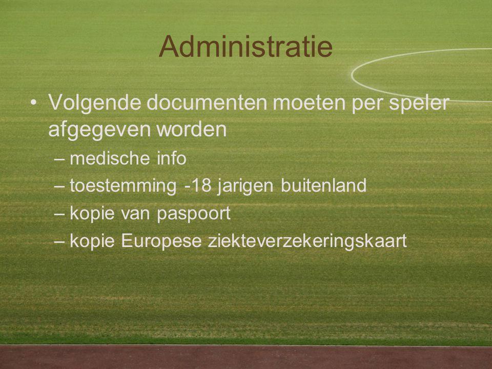Administratie Volgende documenten moeten per speler afgegeven worden –medische info –toestemming -18 jarigen buitenland –kopie van paspoort –kopie Europese ziekteverzekeringskaart