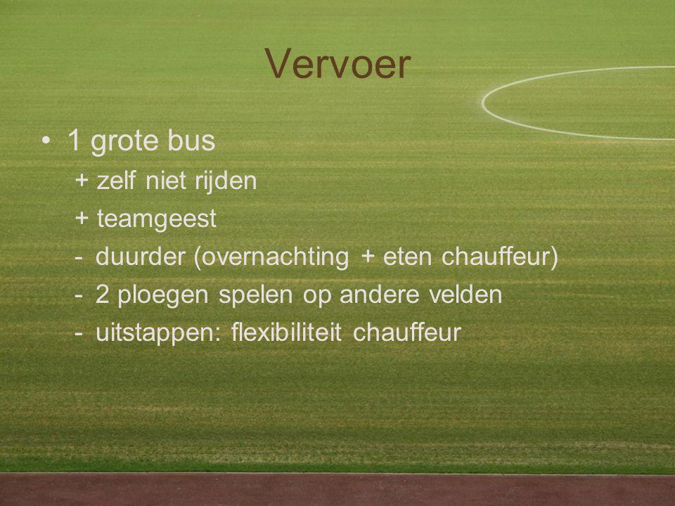 Vervoer 1 grote bus + zelf niet rijden + teamgeest -duurder (overnachting + eten chauffeur) -2 ploegen spelen op andere velden -uitstappen: flexibiliteit chauffeur